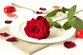 Romantic dinner with red roses and candles