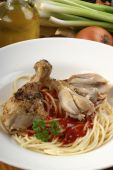 Home Made Spaghetti With Grilled Chicken Wing poster