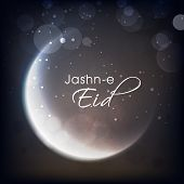 Shiny crescent moon on grey background for muslim community festival Jashn-e-Eid celebrations.