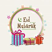 Eid Mubarak celebrations greeting card design with golden circle frame and gift boxes on abstract background.