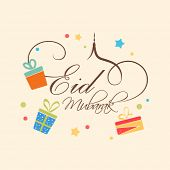 Beautiful greeting card design on occasion of muslim community festival Eid Mubarak celebrations dec