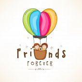 Happy Friendship Day celebrations concept with cute friends in a hot air balloons on shiny brown bac
