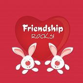 Happy Friendship Day celebrations greeting card design with cute bunnies on glossy red heart decorat