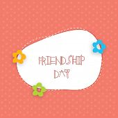 Happy Friendship Day celebration concept with stylish text on floral decorated abstract background.