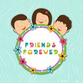 Happy Friendship Day celebrations concept with cute little kids with sticker on green background.