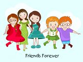 Cute little girls group on blue background with stylish text Friends Forever.