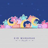Eid Mubarak festival celebrations greeting card design with colorful stars and moons on blue and gre