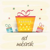 Muslim community festival Eid Mubarak celebrations greeting card design with colorful gift boxes on