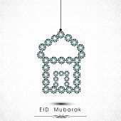 Hanging floral decorated mosque on grey background for muslim community festival Eid Mubarak celebra