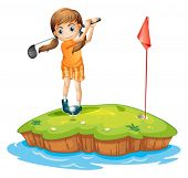 foto of ladies golf  - Illustration of a young woman playing golf on a white background - JPG