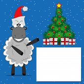 Christmas Tree With Gifts  And  Funny Sheep