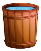Illustration of a big bucket of water on a white background