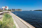 Promenade In The City Port In Rostock