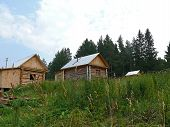 Russia, Alanga. Landscape Nature. The Village In A Forest. Houses Of Timber.