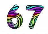 Background Skin Zebra Shaped Number Six And Seven.eps