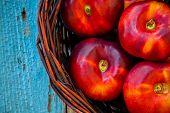 Fresh Organic Flat Nectarines Fresh Organic Nectarines Flat In A Basket