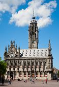 MIDDELBURG, THE NETHERLANDS - JULY 1, 2014; Unidentified people in front of the famous city hall of