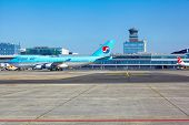 PRAGUE - SEPTEMBER 6: Korean Air Boeing 747 goes to the parking stand in Vaclav Havel Prague Airport