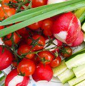 Garden Radish, Cucumber, Tomato, Greens