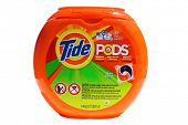 Lake Forest, CA. - February 18, 2014: A 51 ounce tub of Tide Pods with 57 Capsules. Tide has more than 30% of the liquid-detergent market, with more than twice the sales as the next brand.
