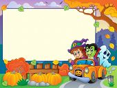 Autumn frame with Halloween theme 3 - eps10 vector illustration.