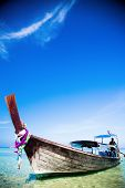 Tropical beach, traditional long tail boat, Andaman Sea, Thailand