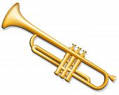stock photo of trumpets  - Vector illustration of brass trumpet - JPG