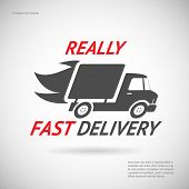 Fast Delivery Symbol Shipping Truck Silhouette Icon Design Template Vector Illustration