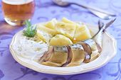 Smoked mackerel with potatoes and onions