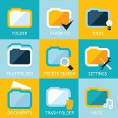 Folder Icons Set Favorites Settings Music Ideas Search Documents Trash on Stylish Background Modern