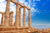 stock photo of poseidon  - Beautiful Temple of Poseidon on cape Sounion - JPG