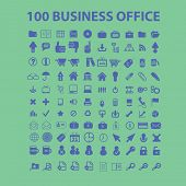 100 business office icons, signs, symbols set, vector