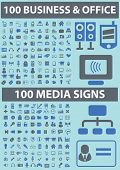 200 business, office, media icons, signs, symbols set, vector