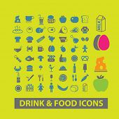 drink, food, restaurant, meat, vegetables, fish, fruits, grocery icons, signs, symbols set, vector