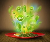 Healthy bio green plate of food on grungy background
