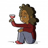 cartoon unhappy woman with glass of wine
