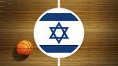 Basketball court parquet floor center with flag of Israel