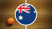 Basketball court parquet floor center with flag of Australia