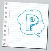 Letter P in comic bubble