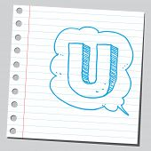 Letter U in comic bubble