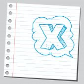 Letter X in comic bubble