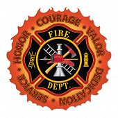 stock photo of firefighter  - Fire department or firefighter Maltese cross symbol design with flame border encircled by  - JPG