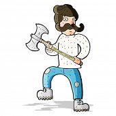 cartoon man with axe