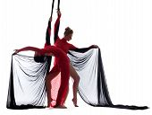 stock photo of silk lingerie  - Image of sexy young dancers posing with silk ropes - JPG