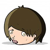image of raised-eyebrow  - cartoon female face with raised eyebrow - JPG