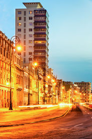 pic of malecon  - Sunset in Old Havana with  the street lights of El Malecon and light trails from the passing cars - JPG