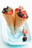 fresh berries in waffle cone