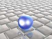 Blue Sphere On Grey Cubes