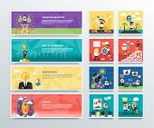 Set of business character banners