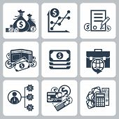 Money and bank icon set